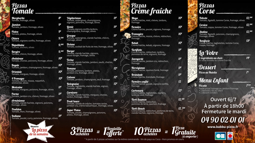 Carte pizza